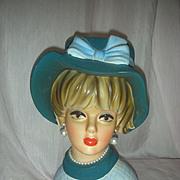 Vintage Lady Headvase 8.5 inch Planter Head Vase Napco