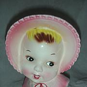 Vintage Little Girl HeadVase Baby Head Vase Planter