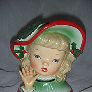 Vintage Napco Christmas Lady Head Vase Planter