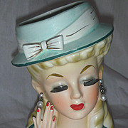 Vintage Enesco Lady Head Vase Planter Headvase