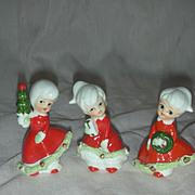Vintage Enesco Christmas Bloomer Girl Figurines Mid Century