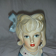Vintage Relpo Teenage Lady Head Vase Planter Headvase