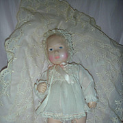 Vintage Effanbee Baby Lisa Doll on Pillow