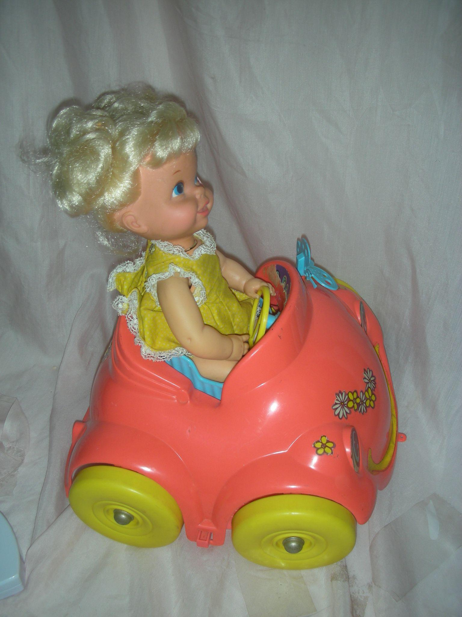Vintage 1960s Mattel Baby Go Bye Bye In Her Bumpety Buggy