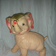 Rare Vintage Sun Rubber Pink Elephant Squeak Toy