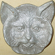SOLD Cast Aluminum Bob Cat Ashtray Virginia Metal Crafters Bobcat Face Tray