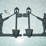 REDUCED Post Road Candle Holders Set Colonial Lamp Lighter Cast Iron Taiwan Wall Hanging