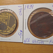 REDUCED New York World's Fair Coin George Washington  Inauguration 1939 Peace Freedom 1940 ...