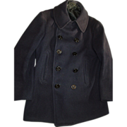 REDUCED Navy WWII Wool Peacoat 10 Button Corduroy Pockets Chinstrap Black Satin Lined Medium