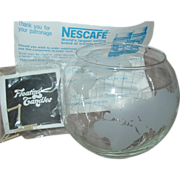REDUCED Nescafe Coffee World Globe Floating Candle Nestle Frosted Glass Cup Bowl Advertising