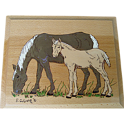 REDUCED Horse Mare Foal Wood Burning Plaque Hand Painted Art Wall Hanging E.Culver 1991