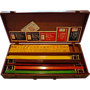 SOLD Mah Jong Jongg Bakelite Catalin Set 136 Butterscotch Tiles 5 Marbled Swirled Racks Case