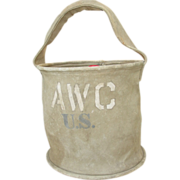 REDUCED Collapsible Water Bucket WWII Boyt 1943 AWC Aircraft Warning Corps Military Canvas Pai