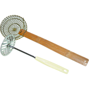 REDUCED Woven Brass Wire Skimmer Strainer with Bamboo Handle & EKCO Potato Masher