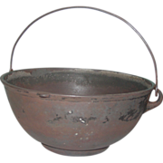 REDUCED Scotch Bowl Cast Iron #4 Kettle Gate Mark Bailed Handle Cooking Pot Fire Heat Ring