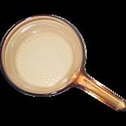 "Corning Vision 7"" inch Amber Glass Skillet Frying Pan Waffle Bottom France"
