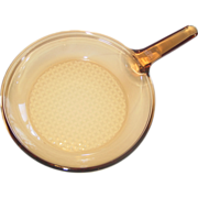 "Vision Corning France Amber Glass 10"" Skillet Frying Pan Waffle Diamond Cooking Bottom"