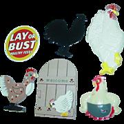 Chicken Hen Rooster Kitchen Fridge Magnet Mudlen Ceramic Refrigerator 6 Pieces