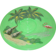 Theater of the Sea Florida Souvenir Tray Plastic Green Swirled Painted Palm Trees Flamingo