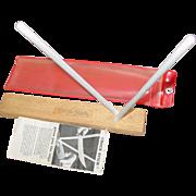 Crock Stick Knife Blade Sharpener Ceramic Rods on Wood Base 1975 Instructions
