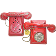 N.N. Hill Brass Co Toy Red Telephone Phone East Hampton Connecticut Tin Pressed Steel