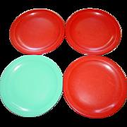 "Texas Ware Plates 10"" Plates Red Blue Melamine Plastic Manufacturing Co Dallas"