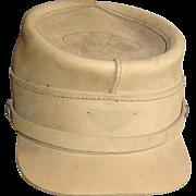Henschel Civil War Style Hat Size Large Tan Leather Cap Military Reenactment Souvenir