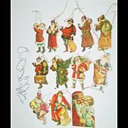 Merrimack Christmas Tree Ornaments Santa Clause Die Cut Victorian Style 2 Sided