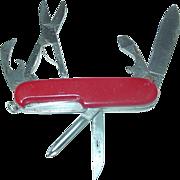 Richartz Solingen Germany Pocket Knife Swiss Army Style Multi Tool Inox Scissors Red