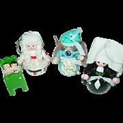 Wood Christmas Tree Doll Crib Ornaments Taiwan Spanish Dutch Children