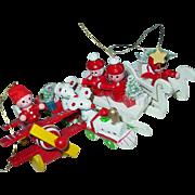 Wood Christmas Tree Ornaments Sled Mice Train Elf in Airplane Angel Taiwan