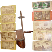 Stereoscope Wood Viewer & 10 Stereoview Stereo View Photograph Cards Comedy