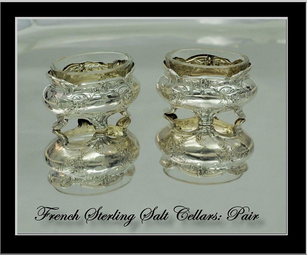 Antique French Sterling Salt Cellars: Mistletoe Decoration!