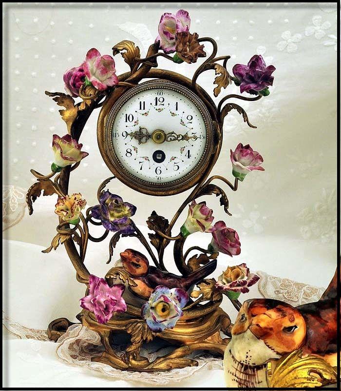 Antique Ormolu & Porcelain Clock Decorated w Amazing Flowers Bird