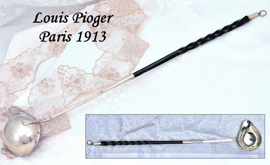 Louis Pioger: Antique French Sterling Ebony Punch or Toddy Ladle
