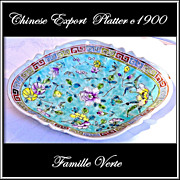 Antique Straits Chinese Nonya Footed Platter HP Turquoise Ground Floral Decoration