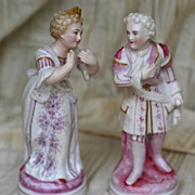 Antique German Porcelain Pair Courting Figures