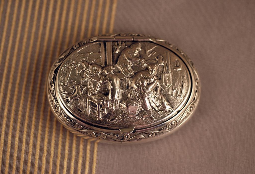 Antique Dutch Sterling Silver Snuff Trinket Box 1886