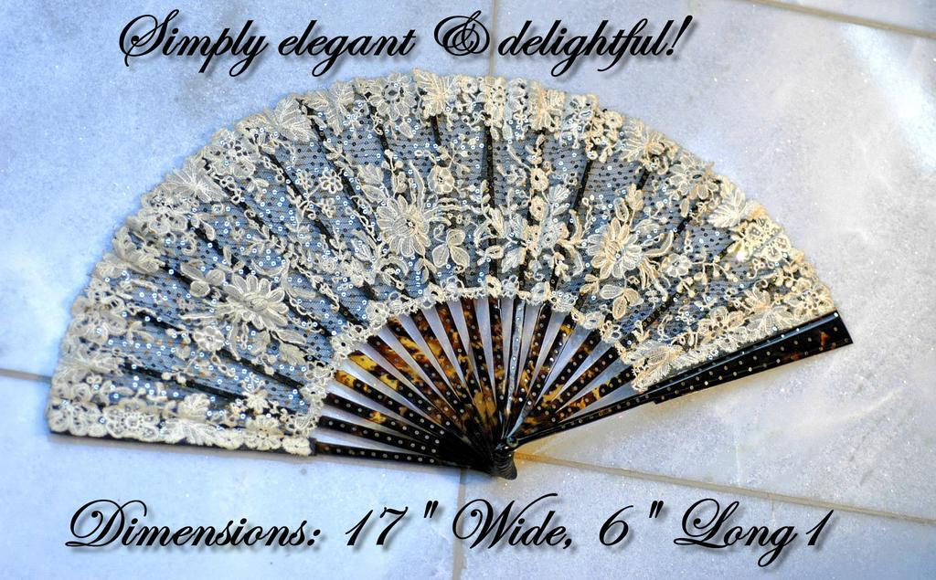 Antique French Folding Fan Hand Made Lace, Tortoiseshell, Silver