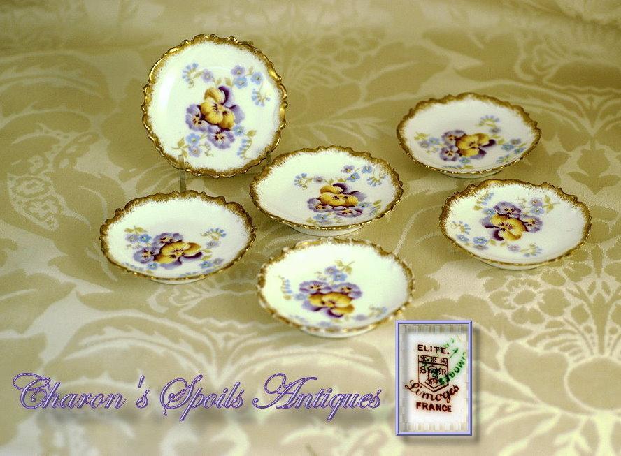 Set 6 Antique Hand Painted Butter Pats: Elite Limoges: Pansies!