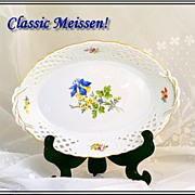 Vintage Meissen Reticulated Porcelain Basket HP Floral