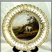 Rare! Hand Painted Gilt Copeland & Garrett Plate: Hunt Themes