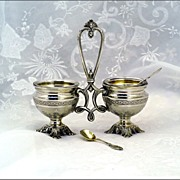 Antique French Sterling Vermeil Open Salt Condiment Caddy
