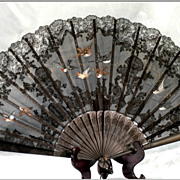 SOLD Vintage French fan:Black Lace, Hand painted Birds, Hand Carved Sticks: HUGE!