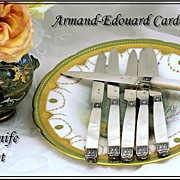 Cardeilhac: Antique French Sterling & Mother of Pearl Fruit Knives, Knife Set 6