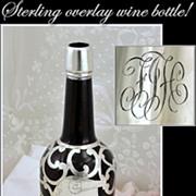 SOLD Sterling Overlay Amber Glass Wine Liquor Bottle