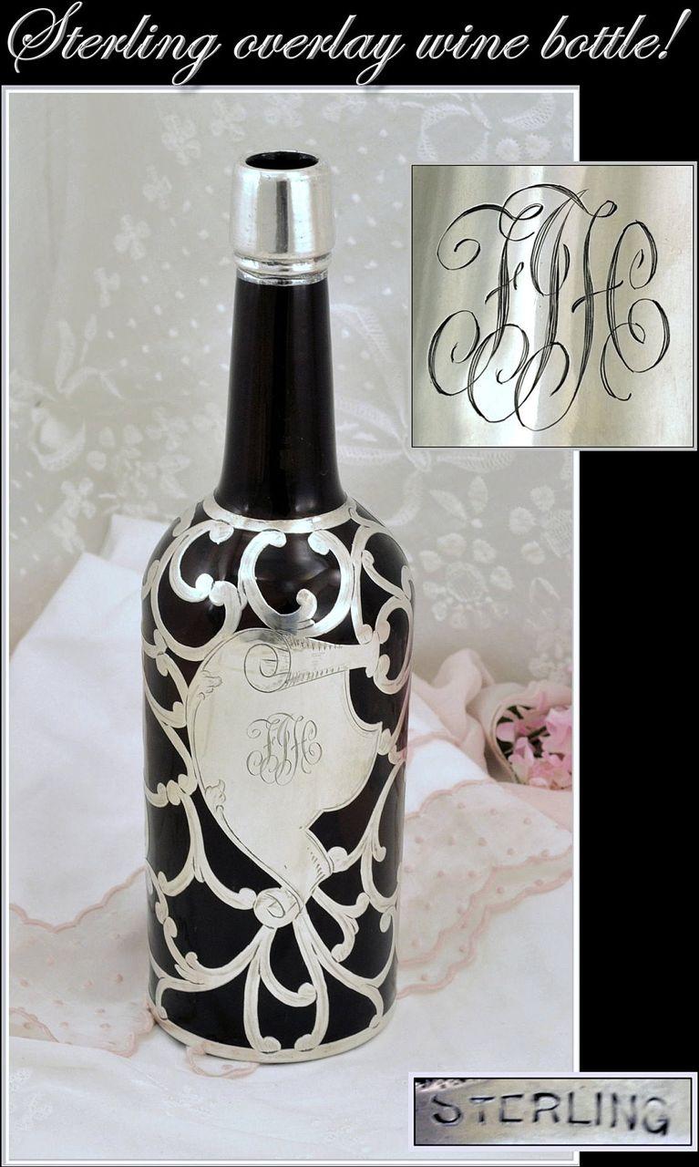 Sterling Overlay Amber Glass Wine Liquor Bottle