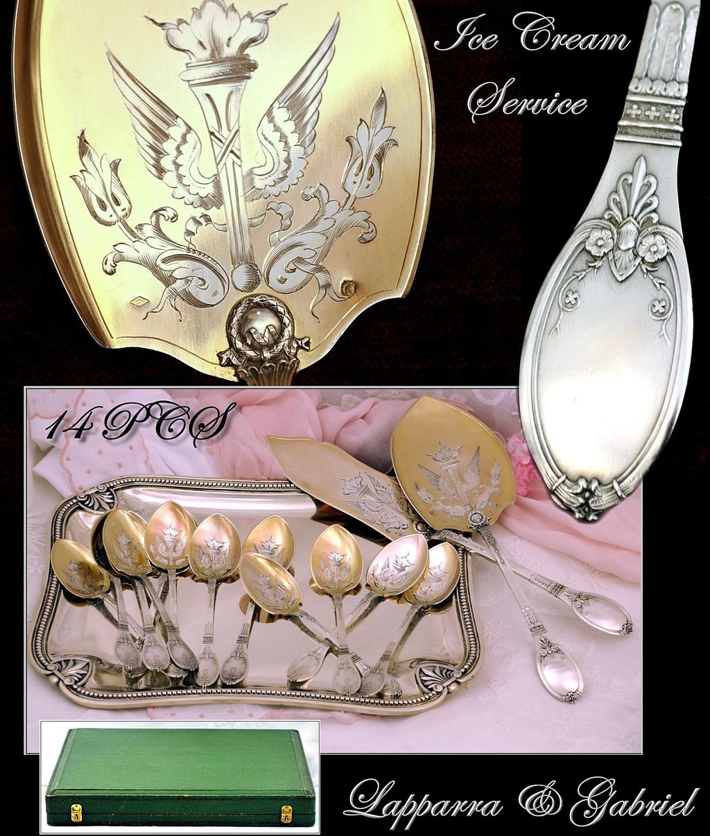 Antique French Empire Sterling Vermeil Ice Cream Service 14 PC