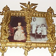 Antique French bronze gilded picture frame with rich decor
