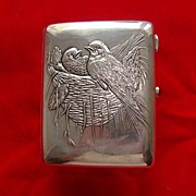 SOLD Antique Russian silver cigarette case depicting a bird´s nest, dated at about 1908
